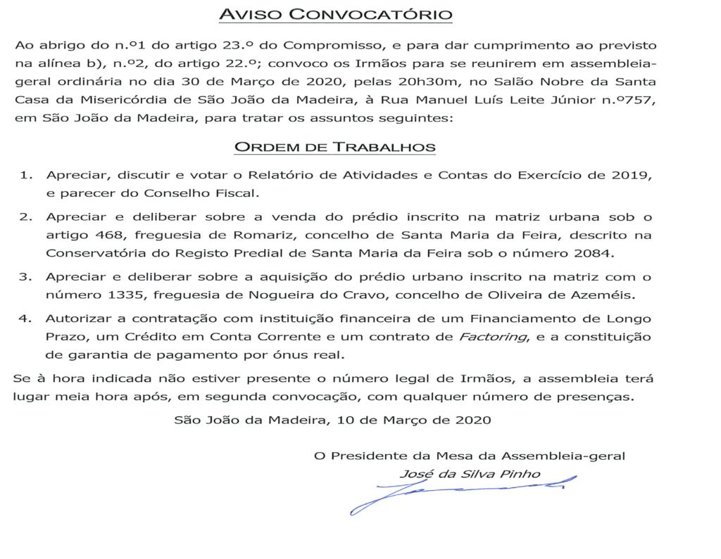 Aviso Convocatório para Assembleia Geral, próximo dia 30 de Março.